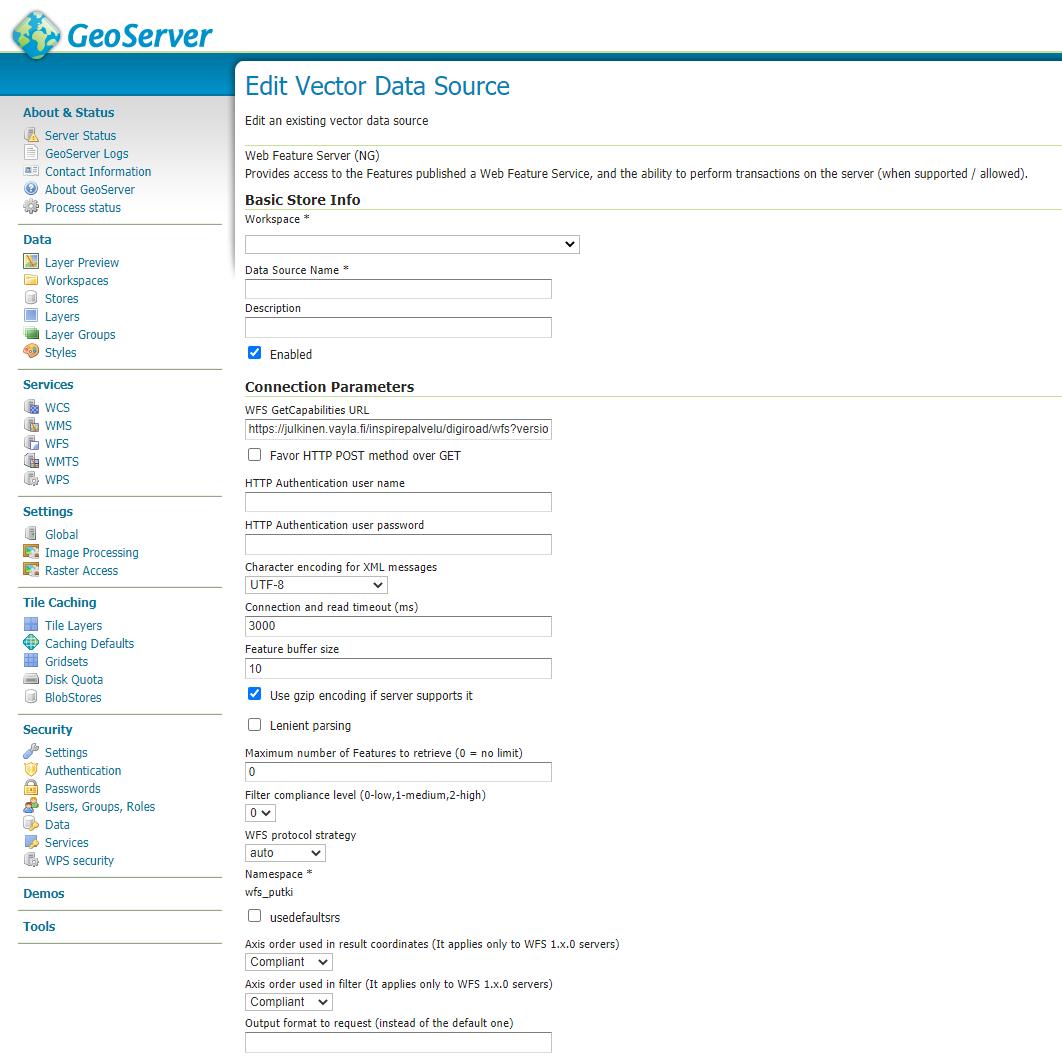OGC-rajapintojen putkitus - datastoren asetukset | Paikkatietomies